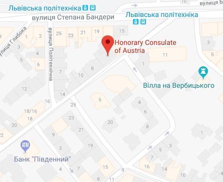 Карта проезда к посольству во Львове