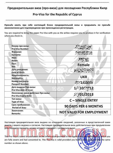 Внешний вид электронной визы на Кипр - Pro-visa