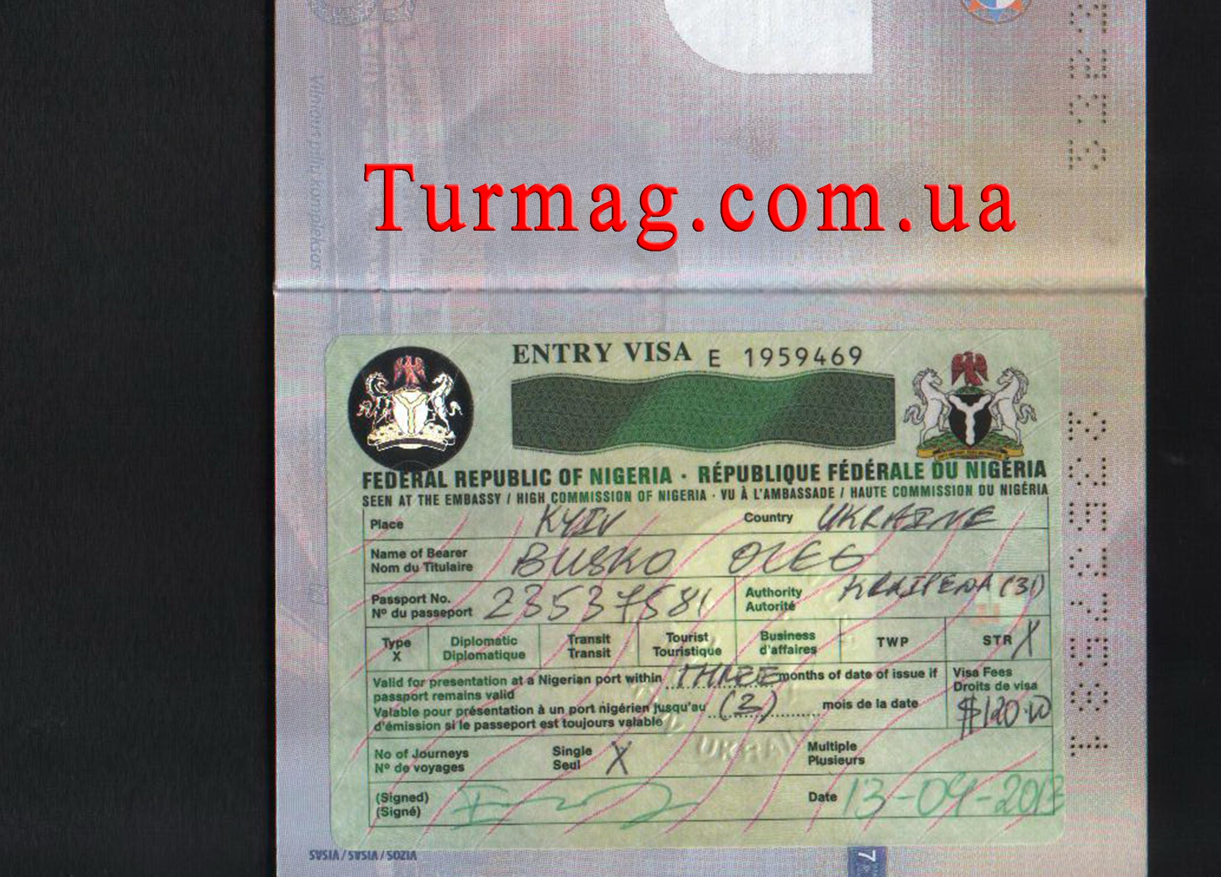 Внешний вид туристической визы в Нигерию