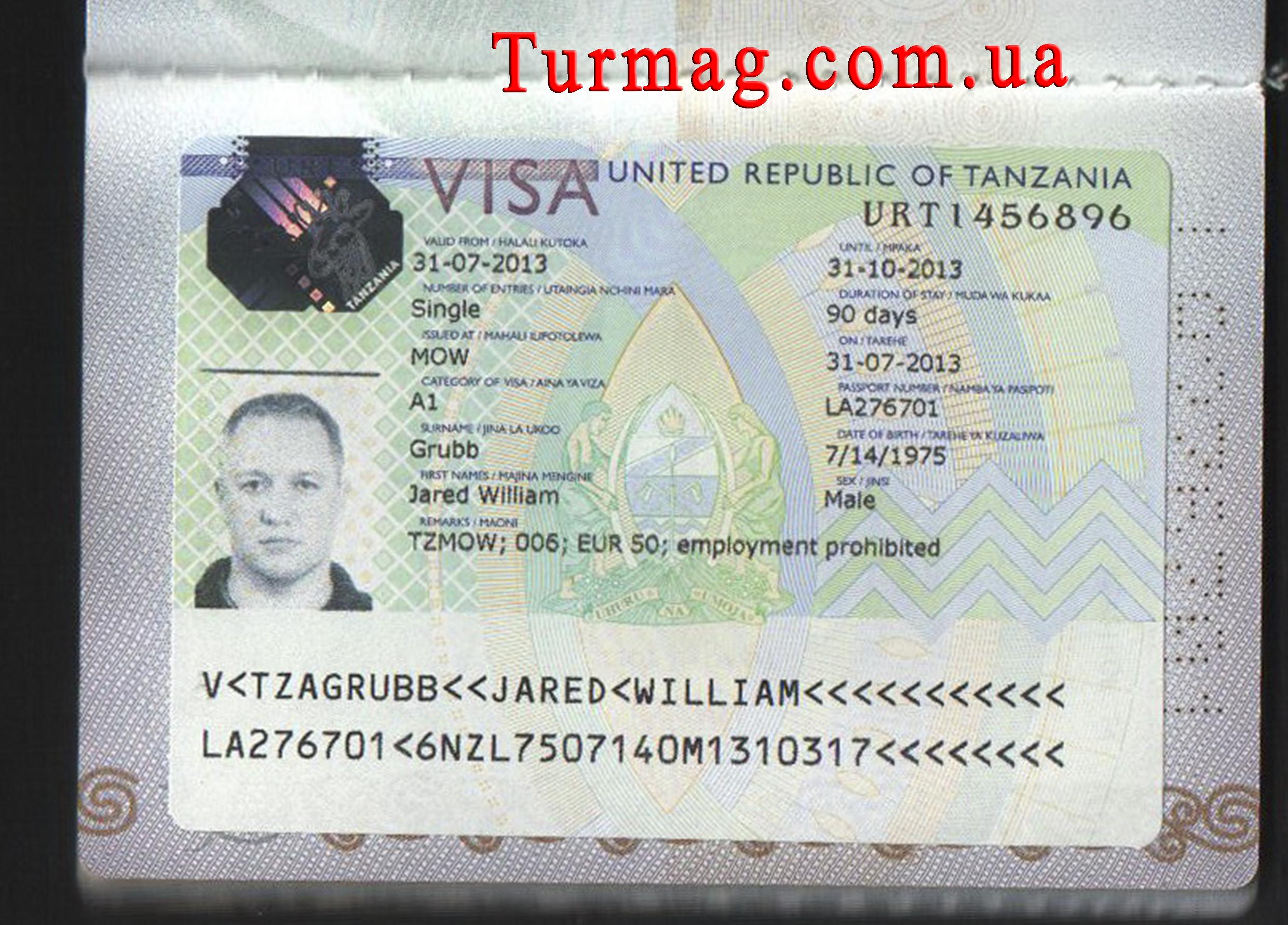 Внешний вид туристической визы в Танзанию