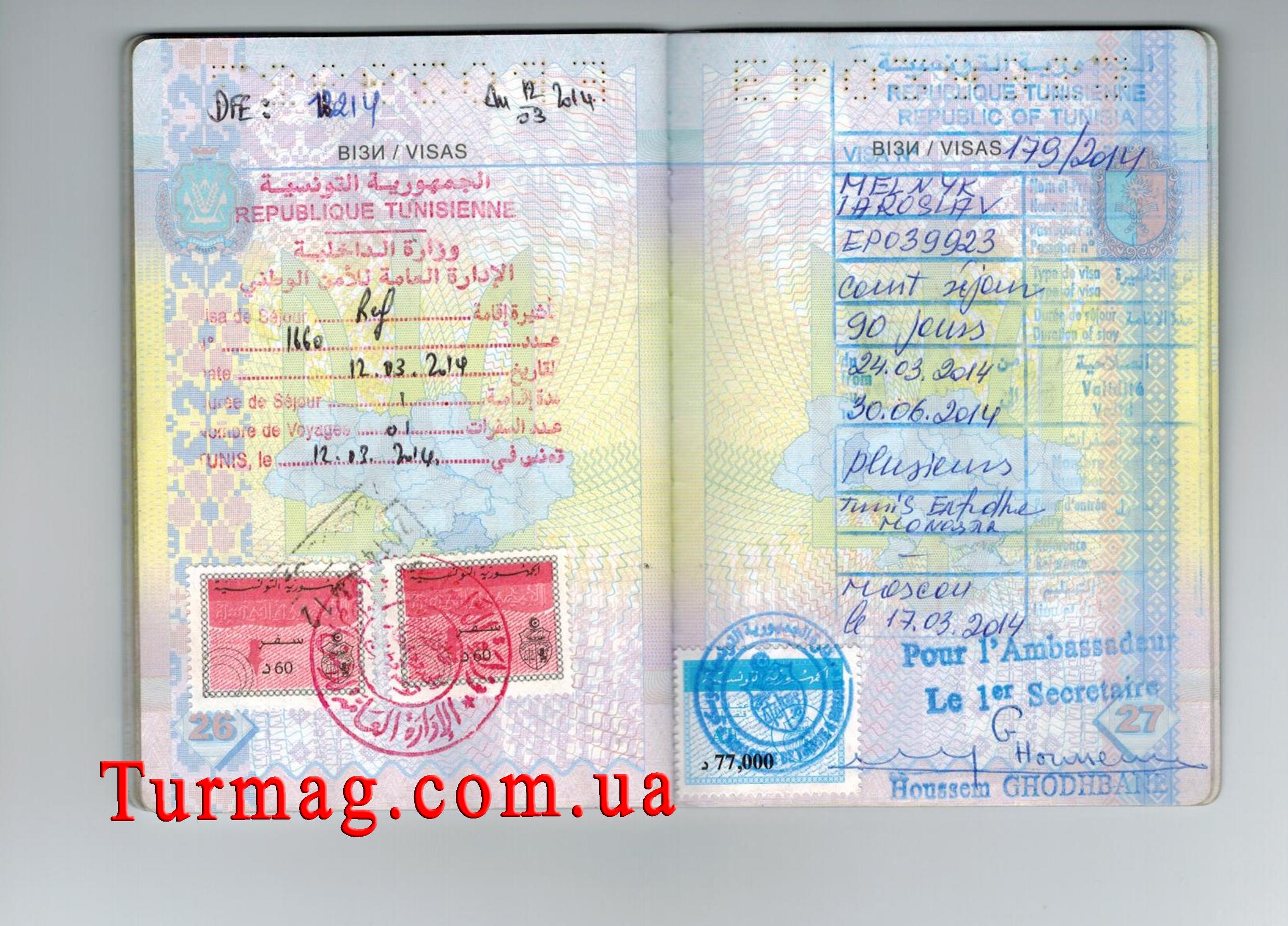 Внешний вид визы в Тунис