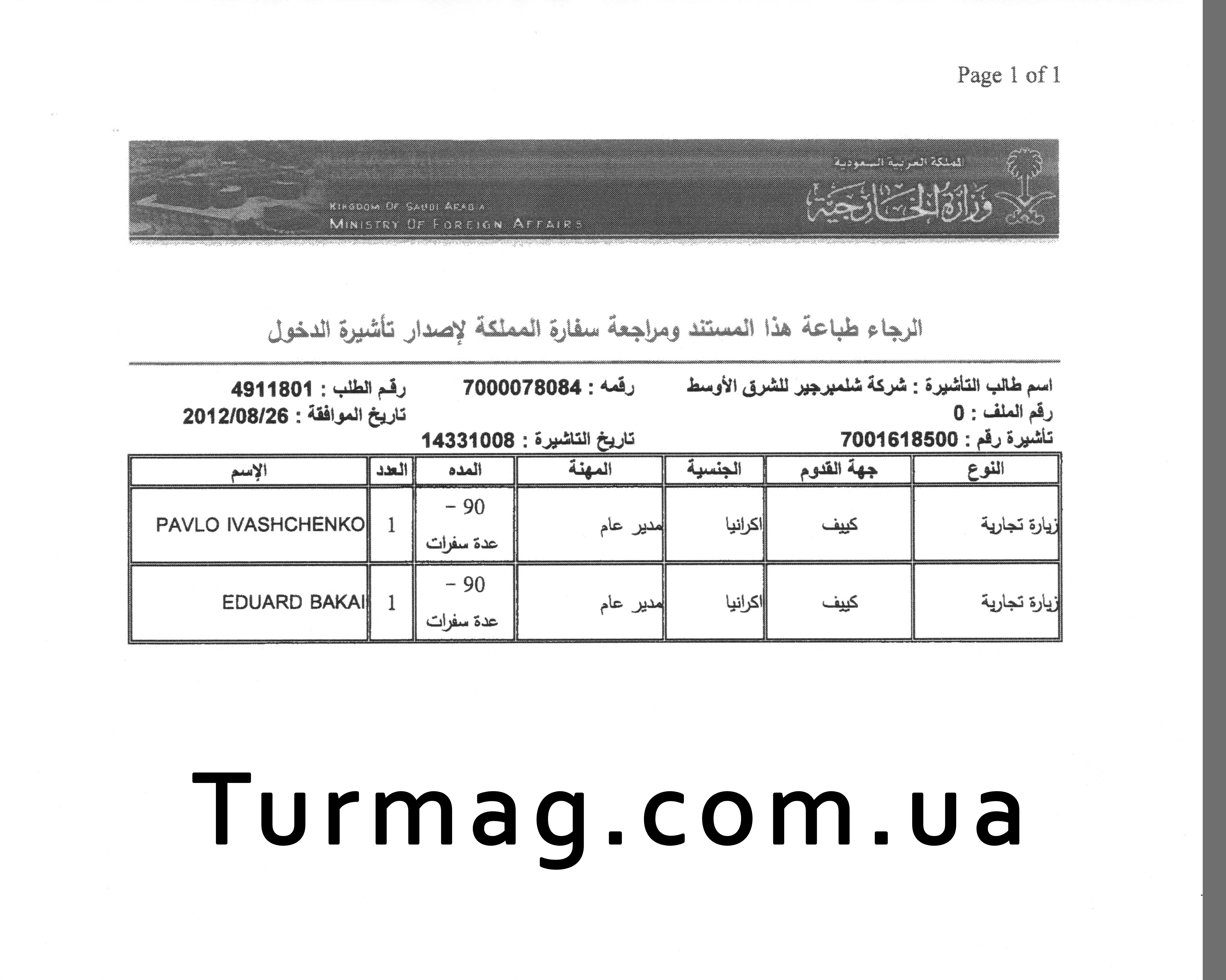 Внешний вид электронного разрешения на визу в Саудовскую Аравию