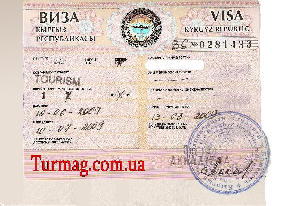 Внешний вид туристической визы в Киргизию