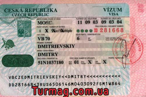 Внешний вид визы Чешкой Старой