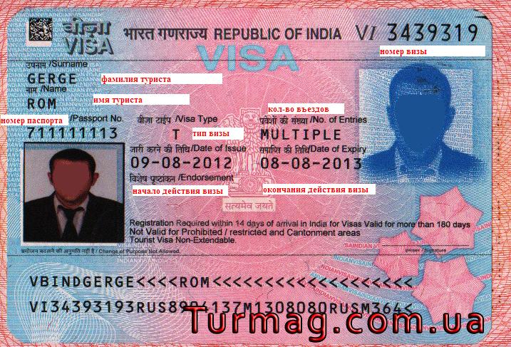 Внешний вид визы Туристической в Индию