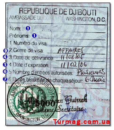Внешний вид туристической визы в Джибути