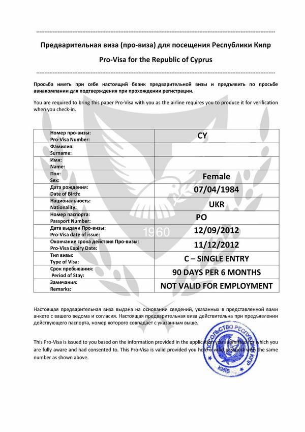 Внешний вид электронной визы (Pro-visa) на Кипр