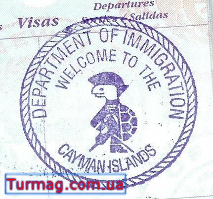 Внешний вид визы туристической на Каймановы острова