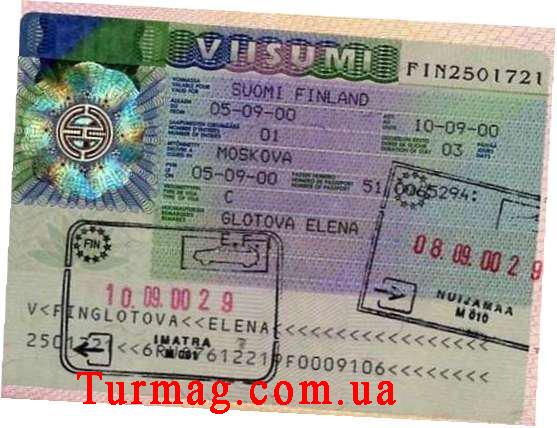 Внешний вид визы Туристической в Финляндию